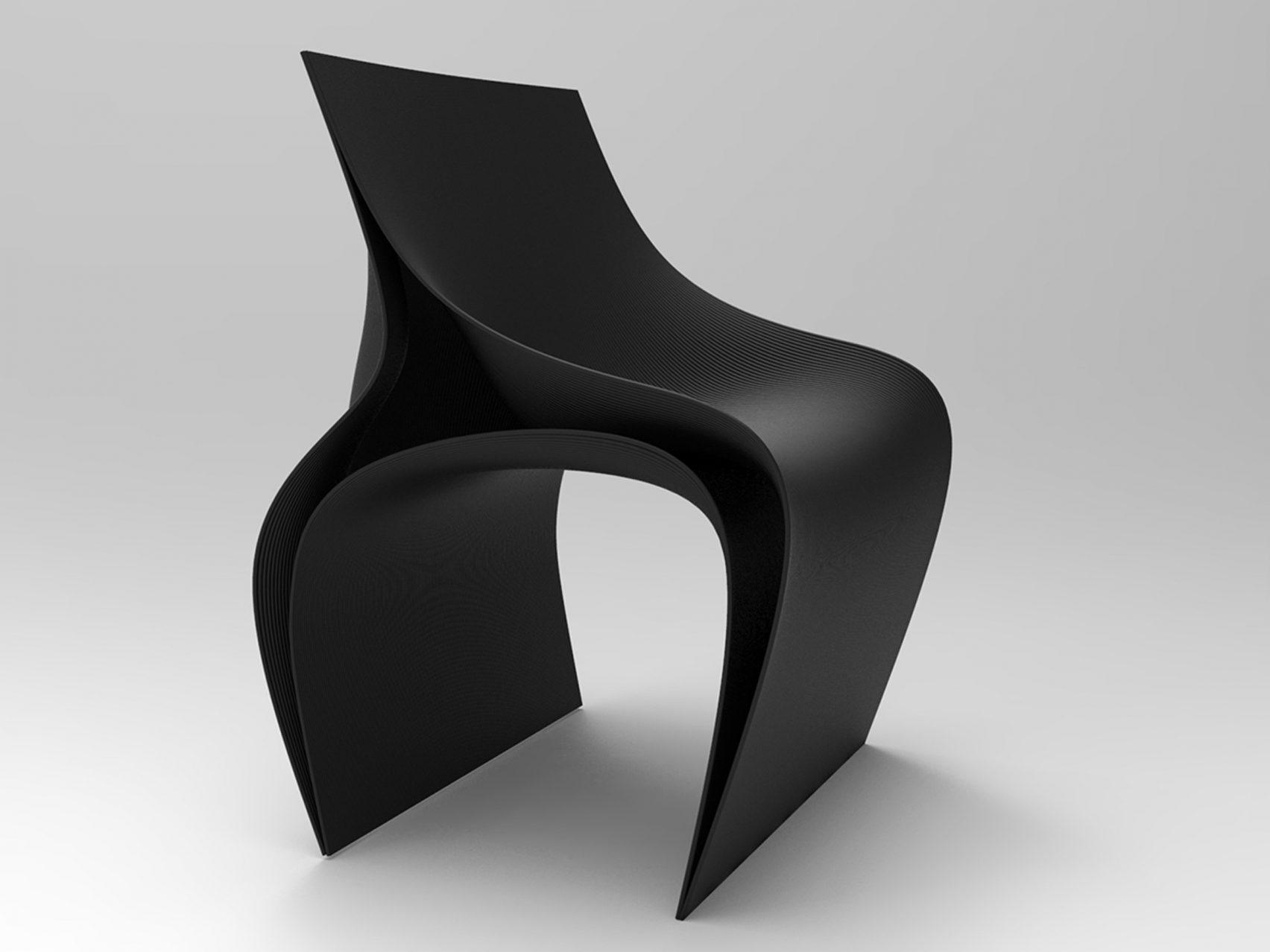 La sedia stampata in 3D di Daniel Widrig è composta da tre pezzi di plastica PLA