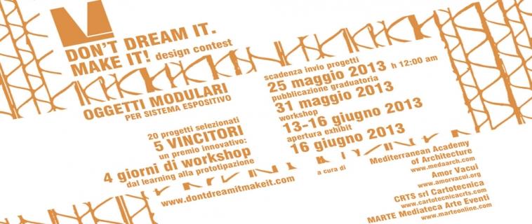 """Al via il WORKSHOP DEL DESIGN CONTEST """"DON'T DREAM IT. MAKE IT!"""""""
