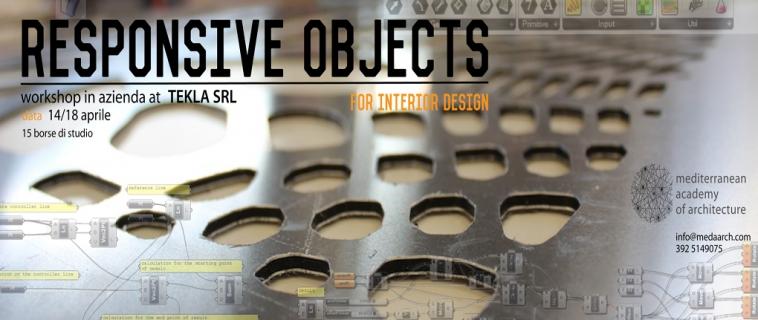 """15 borse di studio del valore di 600€ per il workshop """"Responsive object for interior design""""! Dal 14 aprile al 18 aprile 2014, presso Tekla srl."""
